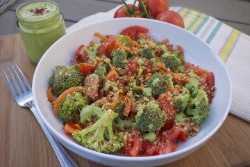 Broccoli Vibrancy Bowl with Hazelnut Crumble and Basil-Tahini Drizzle