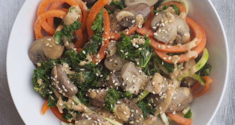 ... Sautéed Mushrooms and Kale with Courgetti and a Mustard Tahini Sauce