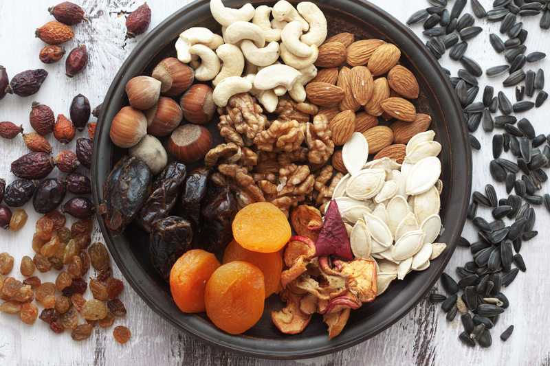 Raw nuts, seeds, and dried fruit